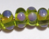 GREEN PURPLE Rondelles Handmade Glass Lampwork BEADS Clear Lime with Purple Polka Dots Halloween Fall Colors  Set of 6