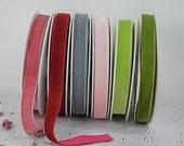 16mm Velvet Ribbon, Pinks, Greens, Greys, Craft, Dressmaking, Wedding, Trims, By the Metre