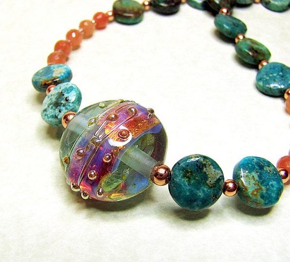 Aqua lampwork beaded necklace Peach moonstone Turquoise gemstone necklace Copper beads Lampwork jewelry Fall fashion gemstone beaded jewelry