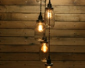 5 Jar Pendant Light - Mason Jar Chandelier Light -  7' Hang Down Mason Jar Hanging Pendant Light