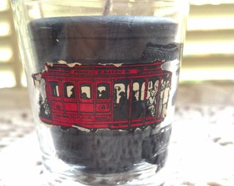San Francisco CA Shot Glass Hand Made Candle Man Cave/bar decor/Gift OOAK Upcycled