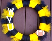 WVU Wreath Tulle for Front Door West Virginia University Football