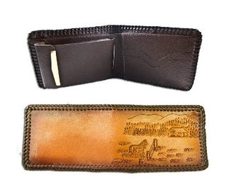 Handmade Genuine Leather Tooled Natural Billfold Wallet