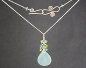Necklace cluster of apatite, peridot with large sea blue chalcedony Necklace 1-34