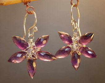 Flowers of amethyst earrings Victorian 197