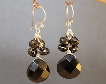 Black spinel and onyx cluster earrings Modglam 106