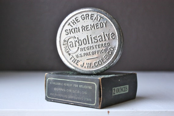 Antique Vintage Cole's Carbolisalve Medical Skin Remedy Cure-All In Embossed Tin With Original Box