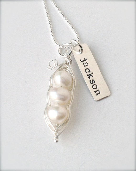 Reserved for Sally- peas in a pod sterling silver wire wrapped hand stamped necklace