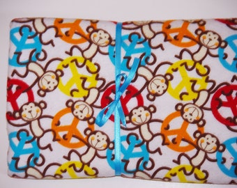 Extra Large Receiving/Swaddle Blanket MONKEY Peace 36x42
