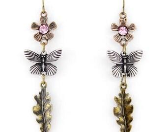 Beautiful Simple Gold-tone Slim Flower/Butterfly/Leaf Drop Earrings,O5