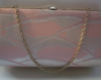 Bridal purse. pale pink and silver brocade handbag or clutch purse, 1980s vintage Japanese