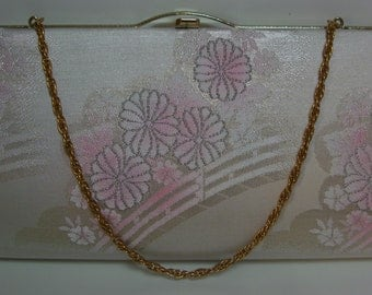Bridal handbag, silver and pink floral design, clutch purse, silk brocade, vintage Japanese wedding purse