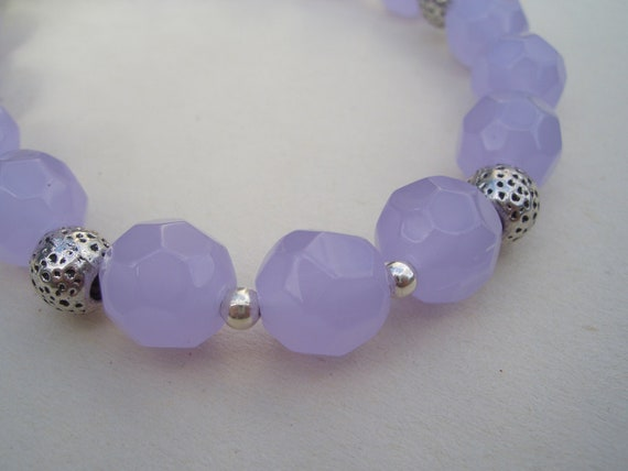 """0paque Amethyst Stone Bracelet with Silver Beads - 8"""" long - B8"""