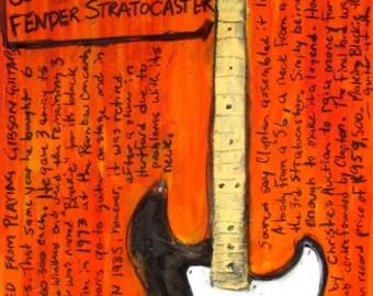 Guitar Art. Eric Clapton Fender Strat Blackie electric guitar art print