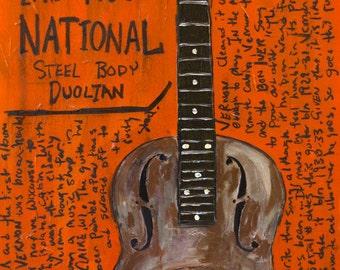 Justin Vernon Bon Iver Art. Vintage guitar art print. National Resonator Duolian. 11x17.