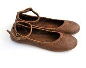 SALE 40% OFF size 7.5 us, 38 eur. Brown leather ballet flats. Flat shoes