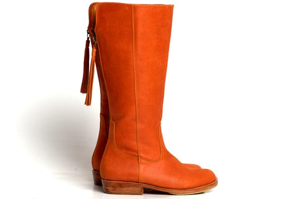 Sale Sz. 9.5. WANDERLUST. Leather riding boots / womens boots / leather boots / knee high boots / orange leather boots / tall boots / fall