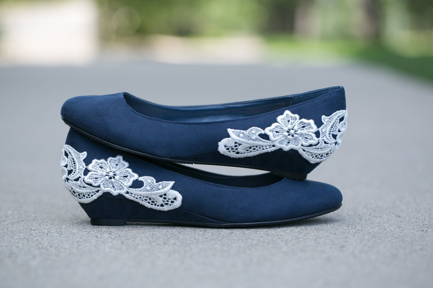 navy blue ballet flat low wedge wedding shoes with ivory lace