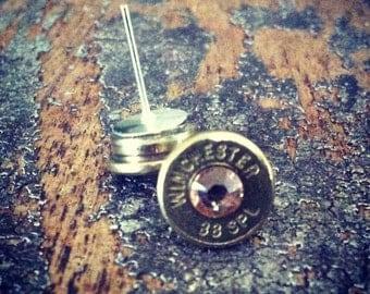 Bullet earrings Topaz crystal 38 special brass bullet casing shell ear rings shooter hunter outdoors gift
