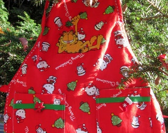 Red Garfield Cat Christmas Preschool Apron