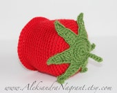 TOMATO BABY HAT - wool or acrylic - photo prop - Made To Order
