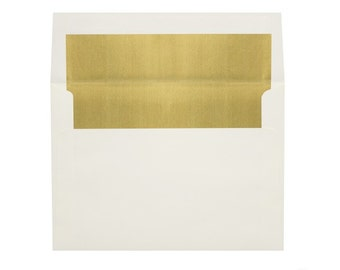 A7 Foil Lined Envelopes (5 1/4 x 7 1/4) - Natural w/Gold LUX Lining - Quantity of 50