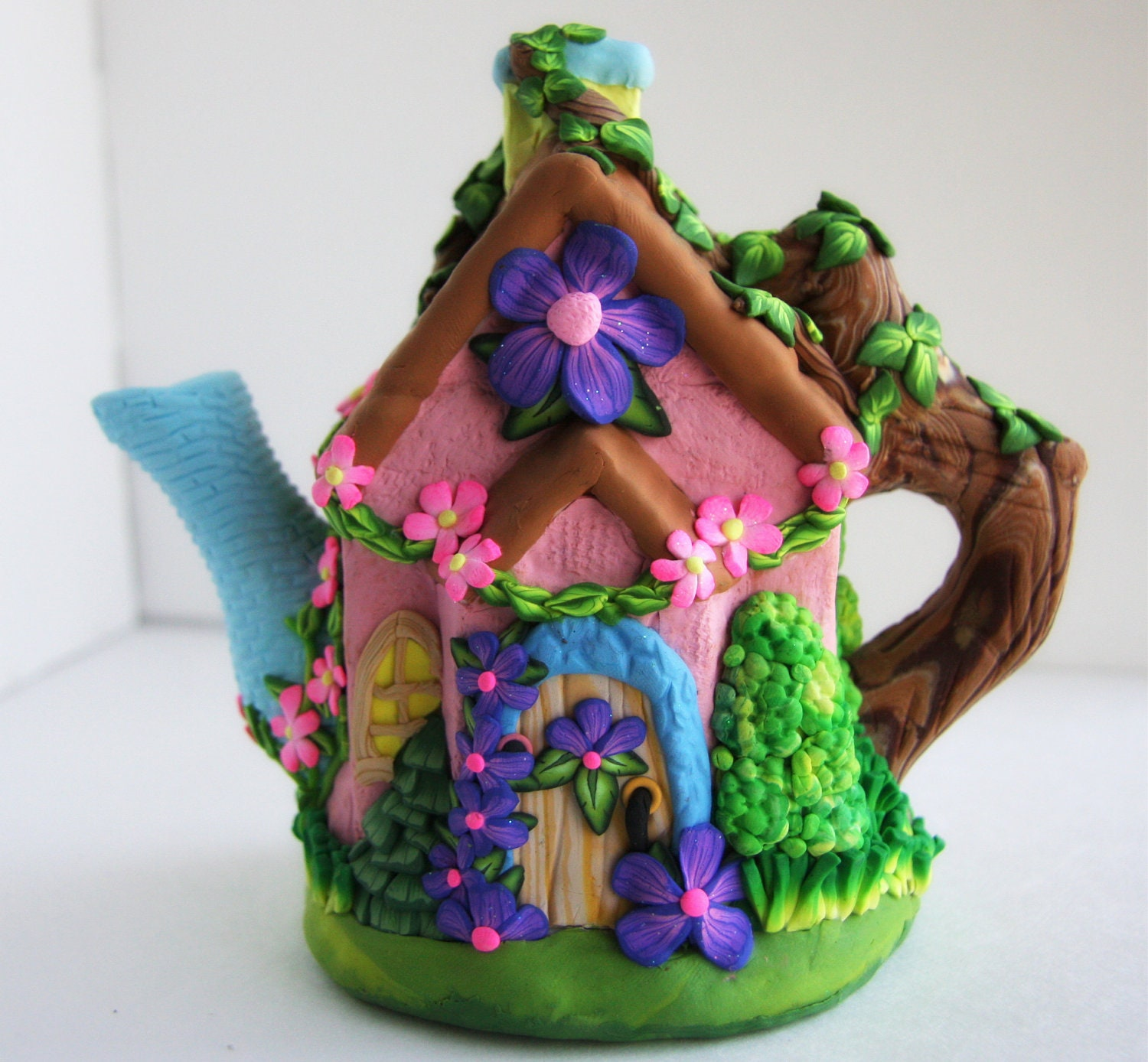 Tiny Country Cottage Tea Pot Polymer Clay Fairy House