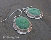 Green variscite and sterling silver metalsmithed dangle earrings