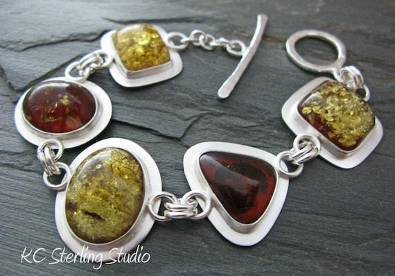 Natural Baltic amber and sterling silver metlalsmithed bracelet