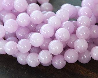 Mountain Jade Beads, Lilac, 6mm Round - 15.5 Inch Strand - eMJR-M09-6