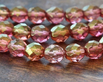 Rosaline Luster Czech Glass Beads, 8mm Faceted Round - 25 pcs - e14495-8