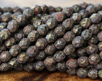Jet Stone Picasso Czech Glass Beads, 6mm Faceted Round - 50 pcs - ECTS2398-6