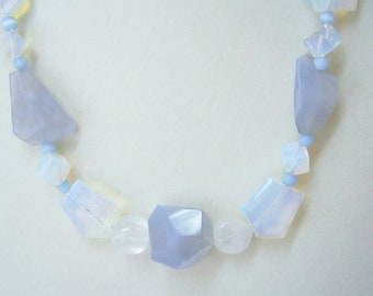 Blue Lace Agate and Opal Glass necklace and earrings.