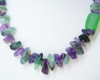 Flourite purples greens textures necklace and earrings.