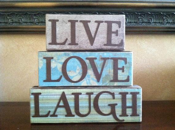 Items Similar To Wood Live Love Laugh Blocks Wood Block