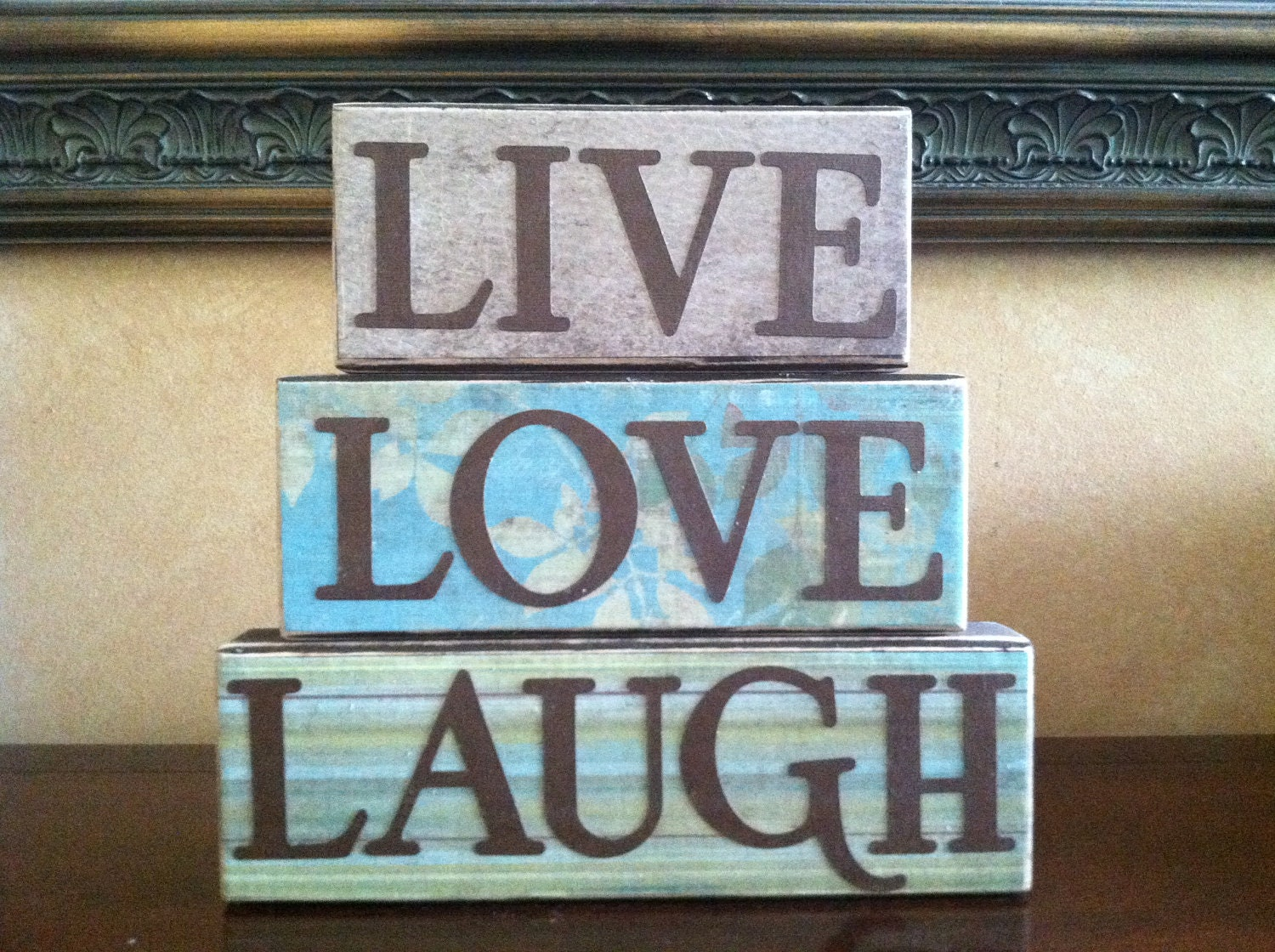 Wall Colour Inspiration: Wood Live Love Laugh Blocks Wood Block Home By