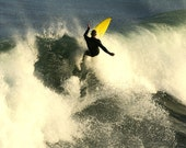 Surf Photography, Summer ocean sports photo, Yellow surf board with cross, Atlantic ocean waves 8x12 or 8x10