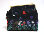 Kisslock purse women purse from vintage fabric with poppies, handmade bag for women, flowered bag from vintage fabric, gift for her