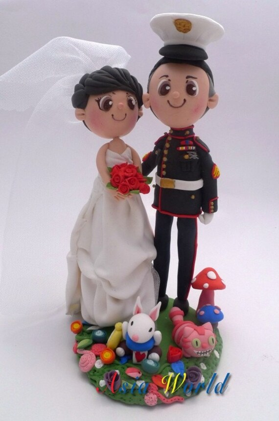 US Marine and Amanda wedding cake topper, Clay cake topper of cute couple with Alice in Wonderland, custom wedding clay doll