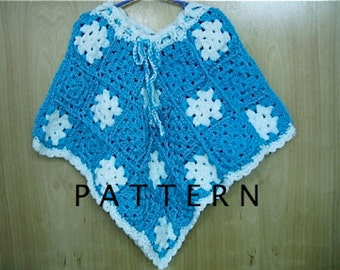 Crochet Pattern Child Granny Square Poncho - Digital Download