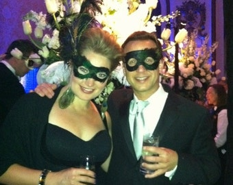 His and Hers Set of Matching Peacock Feather Masquerade Masks