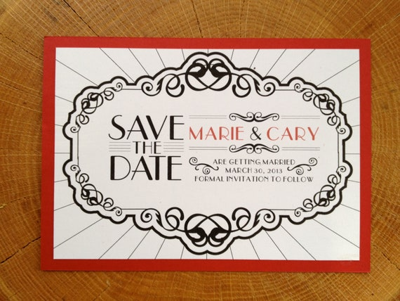 items similar to save the date art deco old hollywood glam black red wedding invitation roaring. Black Bedroom Furniture Sets. Home Design Ideas