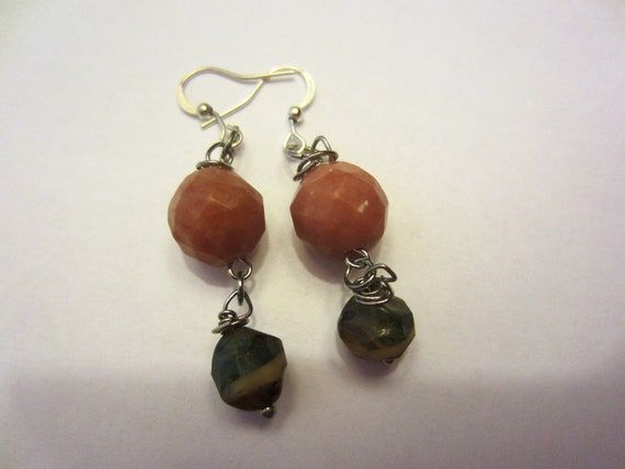 Lepidolite and Sea Green Picasso Earrings