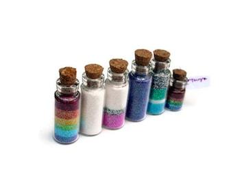 Fairy Jars, set of 5, Magic Dust, Pixie, Wishing Vial, Princess, Cork Jar