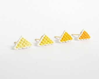 Yellow triangle cross stitch earrings, set of four, gifts for her, gifts under 30