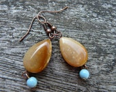 Rustic Orange Brown Stone Drops with Reclaimed Blue Accents