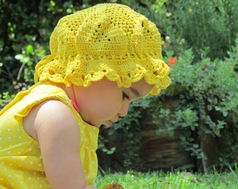 vintage yellow crochet beanie hat