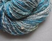 Vegan Handspun Yarn - Seaside - Thread plied yarn - with beads, sequins and sparkle - soy