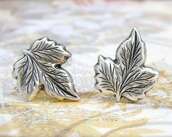 Silver Maple Leaf post earrings