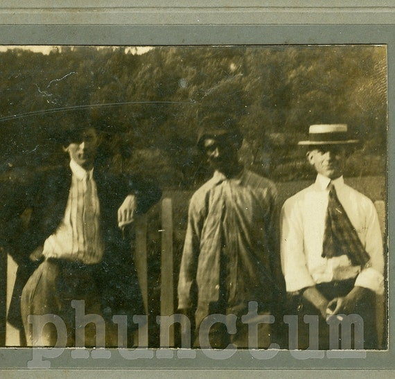 Jim Crow Days: Black & White Men Antique Photo